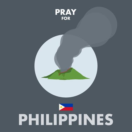 Vector or Illustration of erruption from Taal Volcano. A messages of support to Philippines. Ilustração