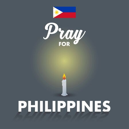 A vector or illustration of a candle and Philippines flag. A messages of support to Philippines Taal Volcano. Ilustração