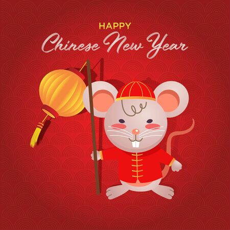 Happy chinese new year 2020 a mouse year. A vector or illustration of a cute mouse wearing traditional Chinese clothes carrying a lantern.