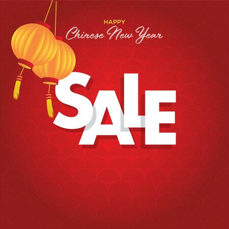 A vector of illustration of a Happy Chinese New Year Sale season with lantern on a red background.