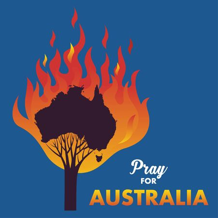 Illustration or vector of a map of Australia that is burning along with the silhouette of a tree. A message to support Australia who are facing a forest fire. Pray for Australia.