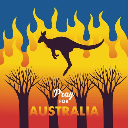 Illustration or vector of kangaroo trapped on a burning forest tree. A message to support Australia who are facing a forest fire. Pray for Australia. Ilustração