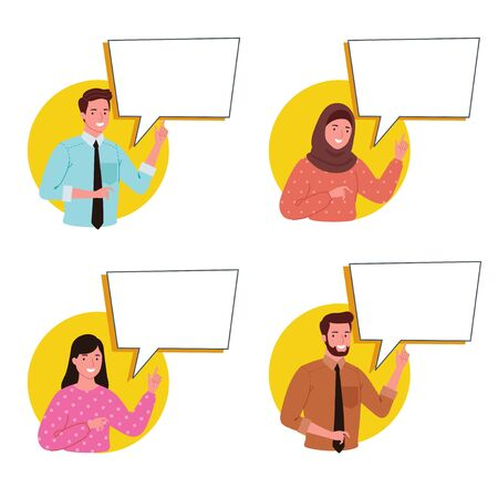 Vector illustrations, flat style, business people provide information with speech bubbles on social networks, news, and chat.