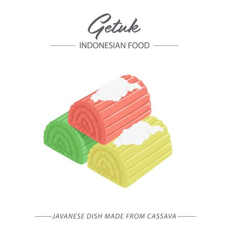 Getuk is a Indonesian-Javanese dish made from cassava. Then it is mixed with grated coconut.