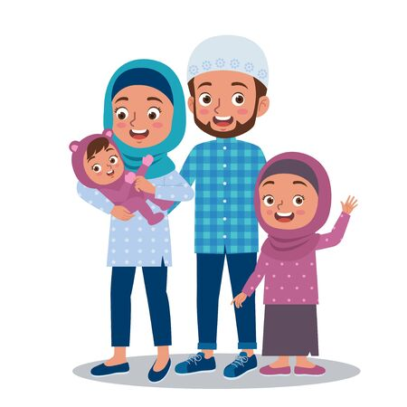 A happy and smiling moslem family with parent and two daughters. Illustration