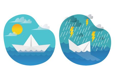 Illustration before and after, the quiet sailing paper boat sank because of a rainstorm. illustration of the concept of life.
