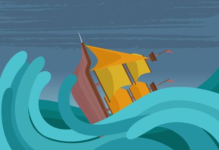 Vector illustration of an old ship that sank in a storm.