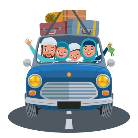 A Moslem family returning to their hometown by car during the Eid. Mudik or Pulang Kampung, is an Indonesian term for the activity where migrants workers return to their hometown during the Eid. Векторная Иллюстрация