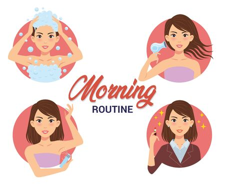 morning routine set of a woman, such as take a bath and washing hair, drying hair using a hair dryer, using deodorant, and wearing lipstick