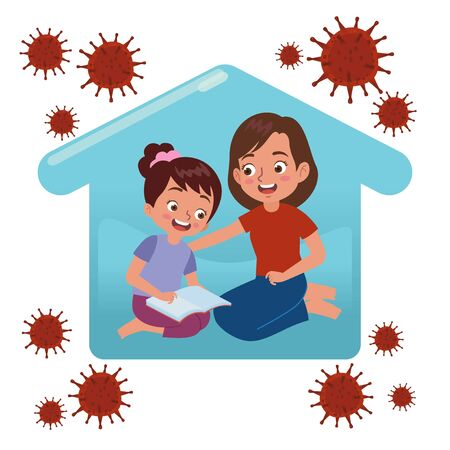 a woman and his daugther staying at home and spending time together by reading a book while they perform self quarantine because of a virus outbreak