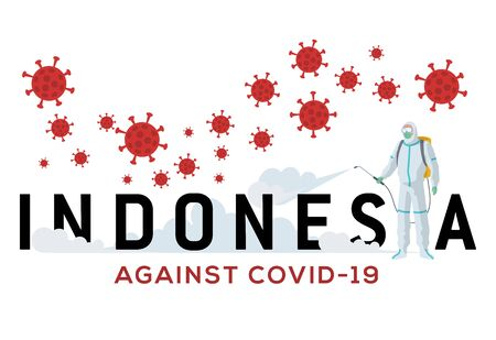 Indonesia against corona virus or covid-19. Indonesia now is struggling against covid-19. An officer wearing a hazmat shirt was spraying disinfectant so the viruses disappeared.