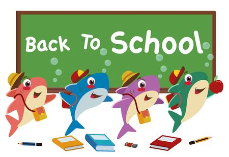 four baby sharks who use bags and hats happily welcome the day back to school, they are surrounded by school supplies and chalkboard.