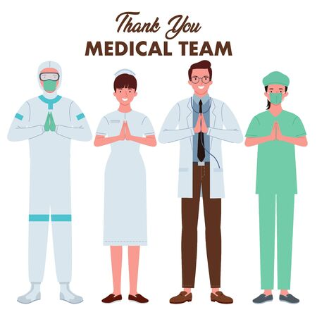 a group of medical teams consisting of doctors, nurses, people wearing hazmat clothes, and doctors wearing surgical clothing. They fold their hands in front of their chest as a gesture of thank you.