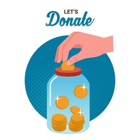 illustration of a hand inserting a coin into a jar containing other coins to donate.