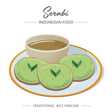 Illustration of Serabi on a white plate. Serabi is an Indonesian pancake that is made from rice flour with coconut milk or shredded coconut as an emulsifier. 矢量图像
