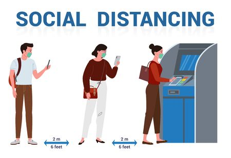 Illustration of physical distance performed by several people who wear a mask while queuing and transacting using automatic teller machines.