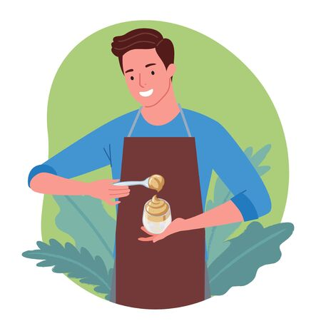 Illustration of a man making Dalgona Coffee and smiling happily. Dalgona Coffee is a popular drink originating from Korea.