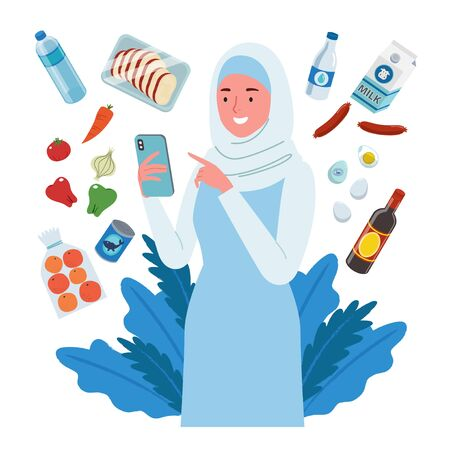 A smiling woman wearing hijab, groceries online shopping. She buys fruit, meat, vegetable, milk etc, through her cellphone.
