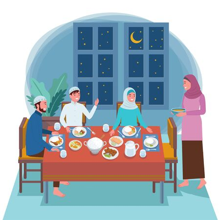 Muslim families consisting of two parents and their children are eating their pre-dawned meal at the dinner table for fasting tomorrow. Vetores