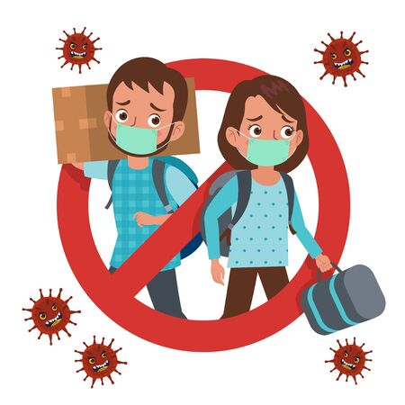 A signage prohibition for those who want to return to their hometown or travel during the coronavirus pandemic. Depicts a man and woman wearing masks and carrying luggage forcing themselves to travel. Stock Illustratie
