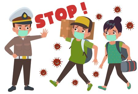 An Indonesian police blows the whistle and stops people who want to return to their hometown during the coronavirus pandemic. Векторная Иллюстрация