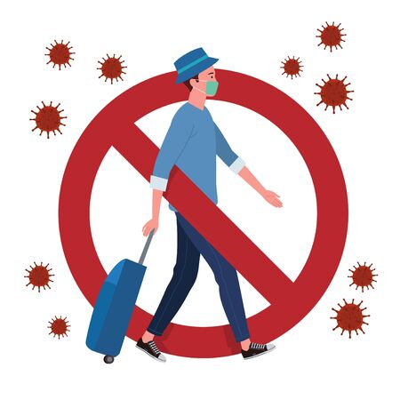 A signage prohibition for those who want to return to their hometown or travel during the coronavirus pandemic. Vector of a man who wear masks and carrying luggage.