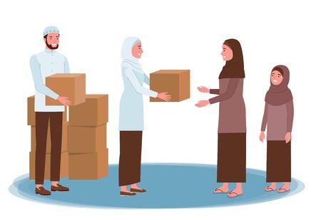 ein muslimischer Mann und eine muslimische Frau verteilen Kisten mit Spenden für eine andere muslimische Frau. Vektorgrafik