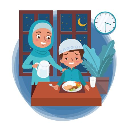 A Muslim mother prepares pre-dawn meal in the month of Ramadan for her sleepy son