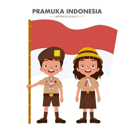 Indonesian boys and girls wearing Indonesian scout uniforms. The boy holds the Indonesian flag.