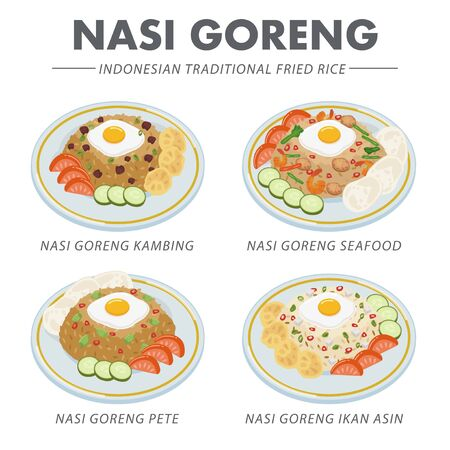 Various type of Fried Rice, or Nasi Goreng in Bahasa Indonesia.Nasi Goreng is an Indonesian dish that usually spiced with sweet soy sauce and accompanied by other ingredients like egg or vegetable.