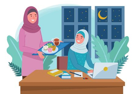 A Muslim mothee is carrying a tray of food and drink for her daughter who is studying in front of a laptop. Vetores