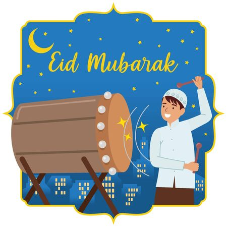 A boy who beats drum or Bedug in Bahasa Indonesia, equipped with the city at night and starry sky background. Eid Mubarak greetings.