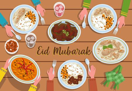 Various Indonesian food dishes that are usually served at Eid, like Dates Fruit, Ketupat, Rendang, Opor Ayam and Sambal Goreng Ati. All food is presented on the table and ready to eat. Ilustrace
