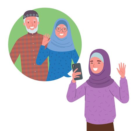 a Muslim girl wearing a hijab is doing a video call with her grandfather and grandmother via cell phone. Vetores