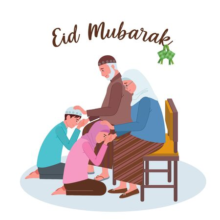 a Muslim girl and boy are kneeling and kissing their grandparents hand on Eid Al-Fitr.