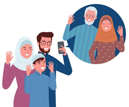 a Muslim family consisting of parents and their children is making a video call with their grandparents. Vectores
