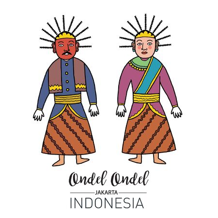 A male and female ondel-ondel from Indonesia. Ondel-ondel is a form of Betawi, Indonesia, folk performance which is often performed at public parties.