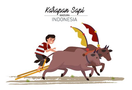 A boy racing in a cow racing from Madura Island, East Java. In this race, a pair of cows pulling a kind of wooden chariot are driven in a race to compete against other pairs of cows. Illustration