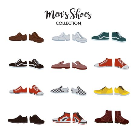 Set of different types of men's shoes from sneaker, boots, and canvas shoes.
