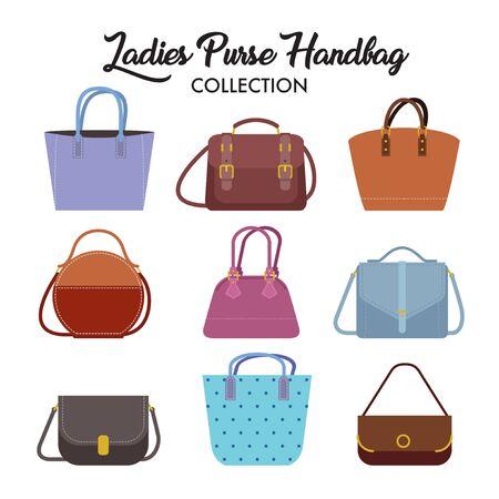 Set of different types of ladies handbag and shoulder bag. Stock Illustratie