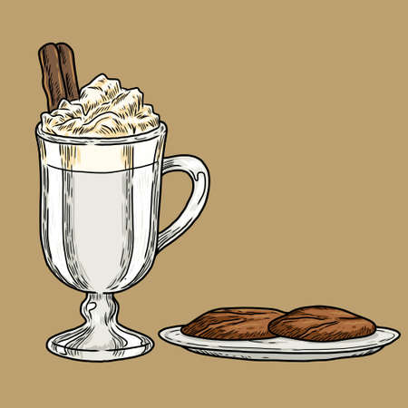 a classic style illustration of a glass of hot drink with whipped cream and cinnamon stick, with a cookies on a plate