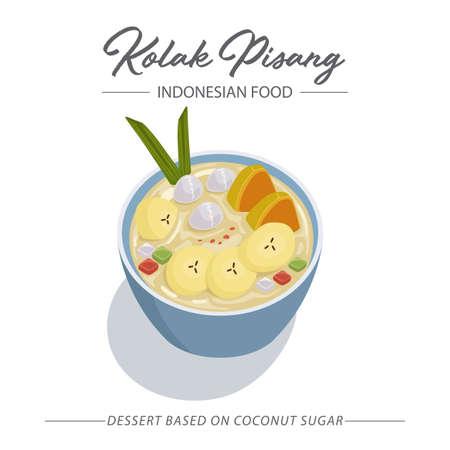 Kolak Pisang is an Indonesian dessert based on coconut sugar with banana. An Iftar Meal. Vettoriali