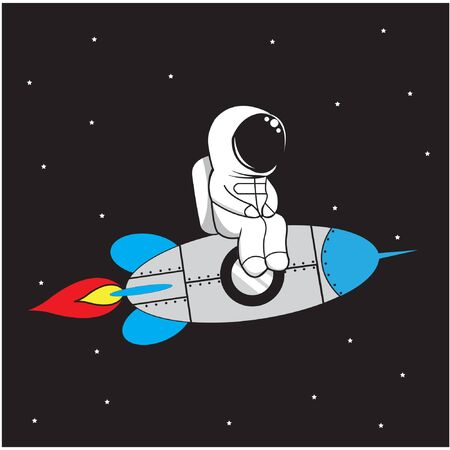 illustration vector graphic of astronaut sit on a rocket
