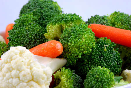 Mixed vegetables  with broccoli  cauliflower and carrots Stock Photo