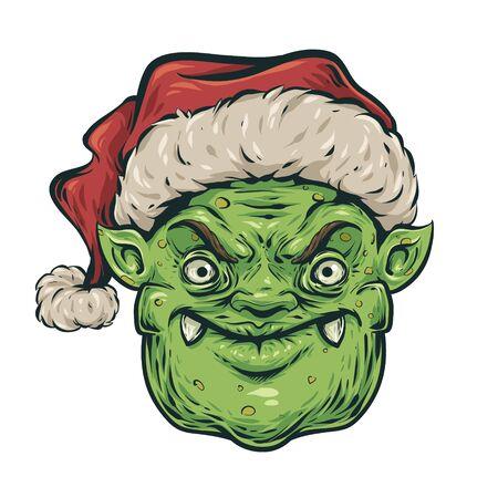 Christmas angry goblin head.
