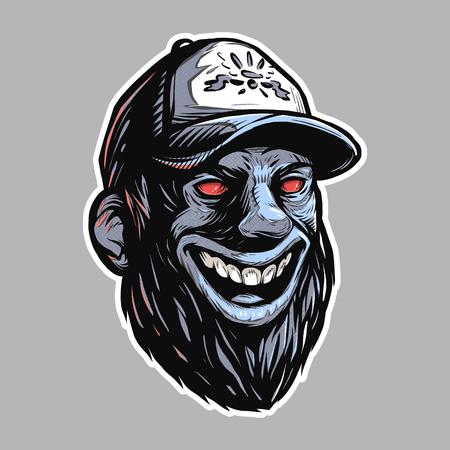 Bearded head with red evil eyes Illustration