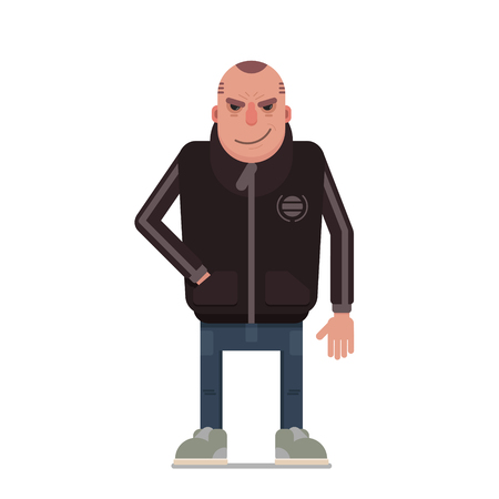 Dangerous guy in sport jacket. Vector clip art based on simple shapes. Isolated on white background. Иллюстрация