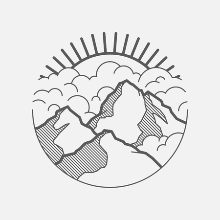 A Minimalist graphic landscape with mountains, clouds and the sun.