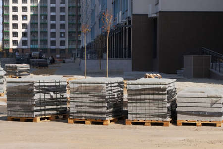 Construction Materials. Building materials for construction of residential complex. Pile of bricks at construction site. 版權商用圖片