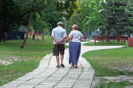 Middle aged couple is walking in forest. Trees on sides of trail. Elderly couple is walking in green park on holiday. Sunny summer day.